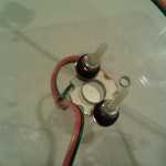 Backside flush mount LED with nylon 4-40 screw, grommet, washer, and nuts
